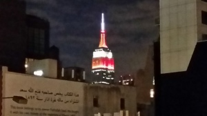 The iconic Empire State Building  shining bright